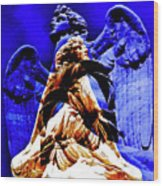 Blue Angel Wings Wood Print