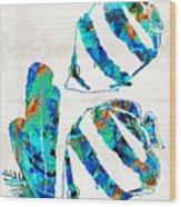 Blue Angels Fish Art By Sharon Cummings Wood Print