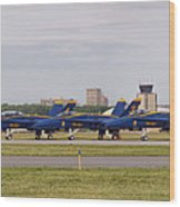 Blue Angels Flight Line Wood Print
