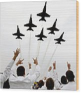 Blue Angels Fly Over The Usna Graduation Ceremony Wood Print