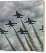 Blue Angels In Formation Wood Print