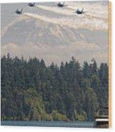 Blue Angels Over Lake Washington Wood Print
