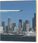 Blue Angels Over Seattle D028 Wood Print
