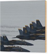 Blue Angels Over Show Center  Wood Print