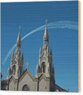 Blue Angels Soaring Wood Print by Suzanne Gaff