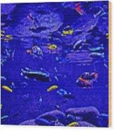Blue Aquarium Wood Print