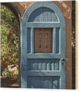 Blue Arch Door Wood Print