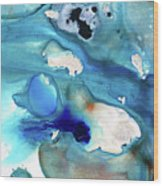Blue Art - The Meaning Of Life - Sharon Cummings Wood Print