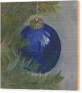 Blue Ball On Christmas Tree Wood Print