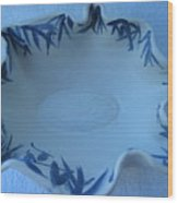 Blue Bamboo Bowl Wood Print