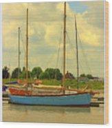 Blue Barge Wood Print