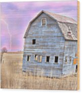 Blue Barn Wood Print