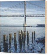 Blue Bay Bridge Wood Print