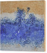 Blue Beach Bubbles Wood Print