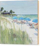 Blue Beach Umbrellas, Crescent Beach, Siesta Key - Wide Wood Print