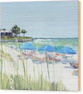 Blue Beach Umbrellas On Point Of Rocks, Crescent Beach, Siesta Key Wide-narrow Wood Print