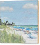 Blue Beach Umbrellas, Point Of Rocks, Crescent Beach, Siesta Key Wood Print