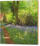 Blue Bells  Flower Wood Print