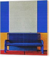 Blue Bench Wood Print