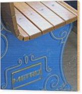 Blue Bench Wood Print