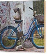 Blue Bicycle Wood Print