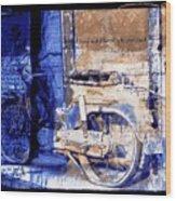 Blue Bike Abandoned India Rajasthan Blue City 2c Wood Print