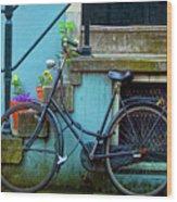 Blue Bike Wood Print