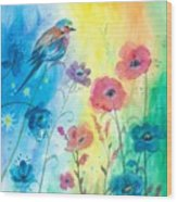 Blue Bird And Flowers Wood Print