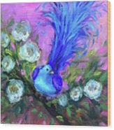 Blue Bird Christmas Wish Wood Print