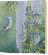 Blue Bird In A Birch  Wood Print