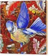 Blue Bird Leaves Wood Print