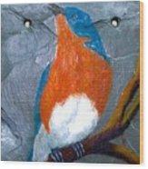 Blue Bird On Slate Wood Print