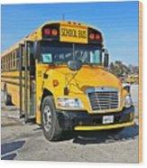 Blue Bird Vision School Bus Wood Print