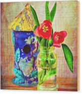 Blue Birdhouse And Red Tulips 2 Wood Print