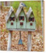 Blue Birds Castle Wood Print