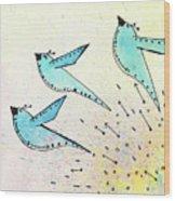 Blue Birds In Flight Wood Print