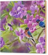Blue Birds With Azalea Wood Print