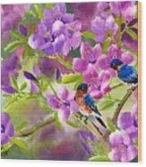 Blue Birds With Azalea Wood Print