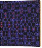 Blue Black Red Warp Abstract Wood Print