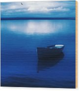 Blue Blue Boat Wood Print