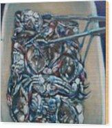 Blue Blue Crabs Wood Print by Sheila Tajima