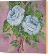 Blue Blue Roses Wood Print