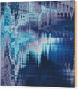 blue blurred abstract background texture with horizontal stripes. glitches, distortion on the screen broadcast digital TV satellite channels Wood Print