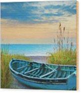 Blue Boat At Dawn Watercolors Painting Wood Print