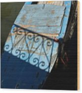 Blue Boat In Venice With Shadow Wood Print