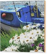 Blue Boat With Daisies Wood Print