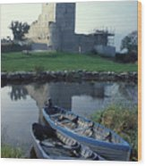 Blue Boats In Ireland Wood Print