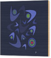Blue Boomerangs Wood Print
