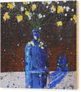 Blue Bottle And Flowers Wood Print