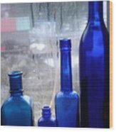 Blue Bottles Wood Print